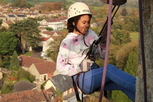 130 Abseil from St Marys Church, Bruton and Smash Fundraising Target