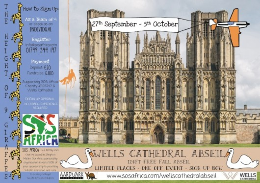 124ft Freefall Charity Abseil from Wells Cathedral