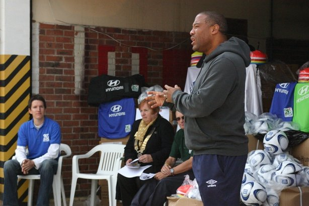 John Barnes launches the SOS Africa / Hyundai 2010 World Cup Football Charity Project