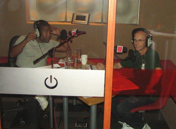 SOS Africa's Matt and Henry on the radio with former England International Footballer John Barnes MBE