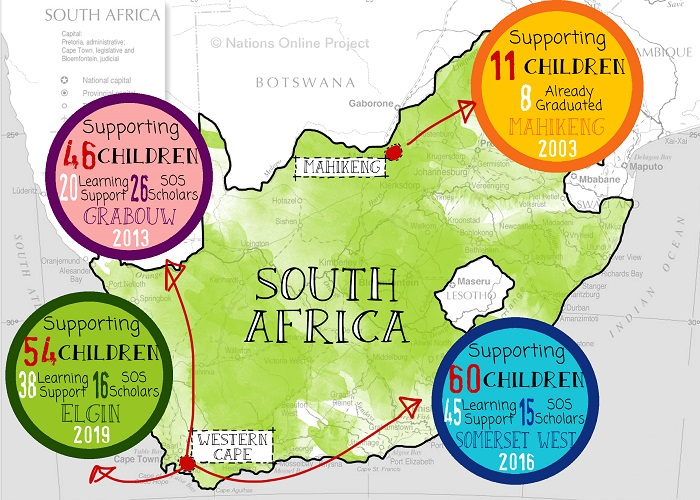 The SOS Africa Children's Charity currently sponsors the education of disadvantaged children across 4 regions of South Africa