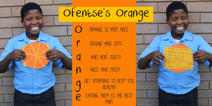 SOS Africa Charity Children's Blog - Children's Fruit and Vegetable Craft Project - Ofentse's Orange