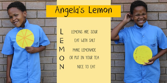 SOS Africa Charity Children's Blog - Children's Fruit and Vegetable Craft Project - Angela's Lemon