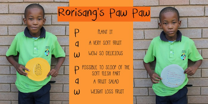 SOS Africa Charity Children's Blog - Children's Fruit and Vegetable Craft Project - Rorisang's Paw Paw