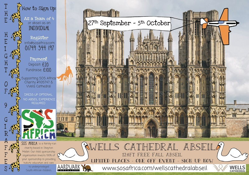 124ft Freefall Charity Abseil Event from Wells Cathedral