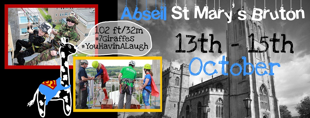 SOS Africa Charity Abseil fundraising event from St Mary's Church Bruton