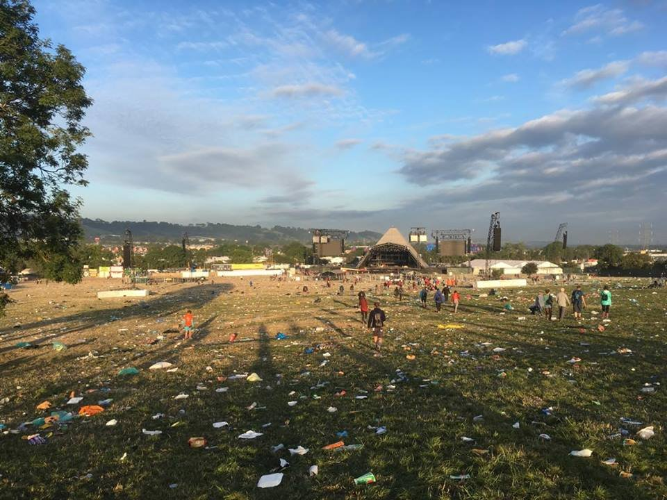 The Pyramid Stage Field before the SOS Africa Charity volunteers started recycling...
