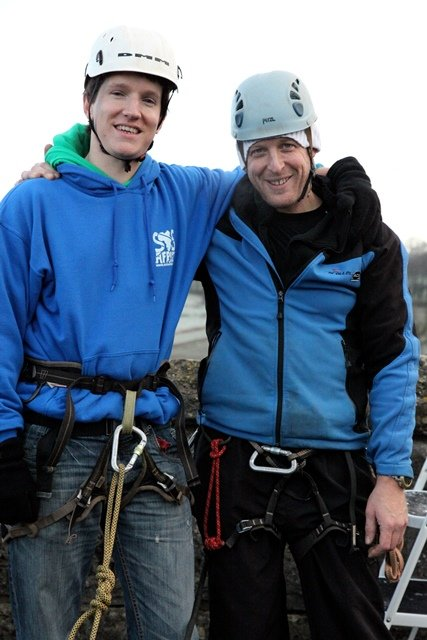 Bruce and Matt during SOS Africa's Kilver Court Abseil Event