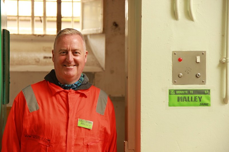 Frome Town Robins Coach Jamie Malley participated in SOS Africa's 24 Hour Lock-In at Shepton Mallet Prison
