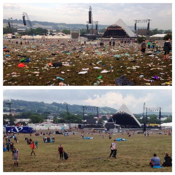 Before and after photos of the Pyramid Stage field