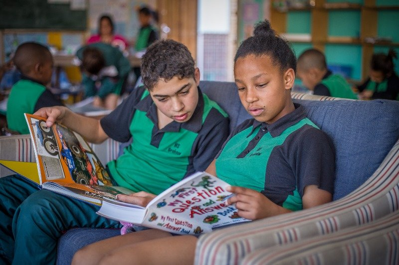 New SOS Africa Charity libraries provide reading books for children in Western Cape, South Africa