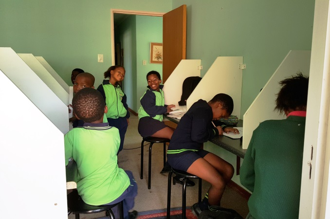 The new desks bought with the funds raised by Mabs Cross Primary School Students
