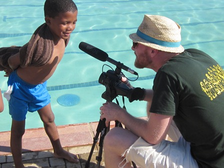 Film producer, Slade Lamey, interviewing Kabelo