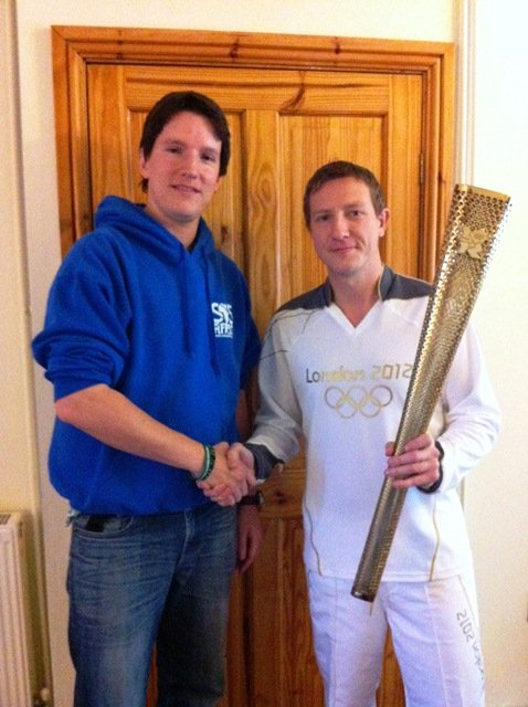 Matt with Matthew and his Olympic Torch