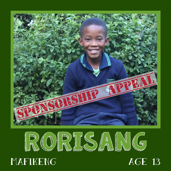 Sponsor a child in Africa - Rorisang, Age 13, Mafikeng